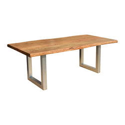Sierra Living Concepts - Live Edge Modern Rustic Industrial Iron Base Dining Table - You've come to expect the best in quality and style from Sierra Living Concepts; this rustic contemporary large live edge dining table certainly combines both in a big way.