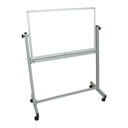 Luxor - Luxor Vertical Reversible Whiteboard - MB3648WW - The Luxor MB3648WW Whiteboard series are made from magnetic reversible whiteboards on both sides. Aluminum frame around board. Both sides are magnetic. 4 casters for easy.