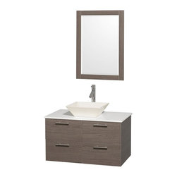 Wyndham Collection - 2-Drawer Storage Wall Mounted Vanity Set - Includes mirror, drain assemblies and P-traps for easy assembly. Faucet not included. Modern clean lines. Eight stage preparation. Veneering and finishing process. Highly water resistant low V.O.C. sealed finish. Unique and striking contemporary design. Deep doweled drawers. Fully extending soft close drawer slides. Soft close door hinges. Single hole faucet mount. Two functional doors. Plenty of storage space. White man made stone top. Bone porcelain sink. Engineered for durability and to prevent warping and last for lifetime. 0.75 in. thickness mirror. Made from highest quality grade E1 MDF. Metal exterior hardware with brushed chrome finish. Grey finish. Minimal assembly required. Mirror: 23.75 in. W x 33 in. H. Vanity: 36 in. W x 21.5 in. D x 20.25 in. H. Care Instructions. Assembly Instructions - Sink. Assembly Instructions - MirrorTruly elegant design aesthetic meet affordability in the Wyndham Collection Amare Vanity. The attention to detail on this elegant contemporary vanity is unrivalled.