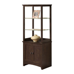 Bush - Bush Buena Vista 2 Door Tall Library Storage Unit in Madison Cherry - Bush - Storage Units - MY1389203 - Tastefully display objects of art or unique works with style and flair. The Bush Furniture Buena Vista Madison Cherry 2-Door Tall Library Storage holds books personal items or displays of all kinds. Two attractive adjustable clear tempered glass shelves fit most room d��cor. Spacious bottom shelf is adjustable and enclosed by two doors with aged bronzed-metal door hardware. Works at home as a curio cabinet or in an office as a combination bookshelf and storage unit. Small footprint allows room-placement flexibility. Solidly constructed and versatile its elegant post leg design and curved base-rails add a splash of panache. Surface and edges resist dings and nicks scratches and stains. Rugged construction provides long life and offers total functionality. Backed by the Bush Furniture 1-year Manufacturer's Warranty.