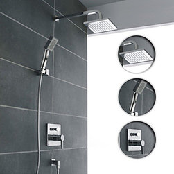 Wall Mount Contemporary Chrome Shower Faucet Set - Function:Shower Faucets