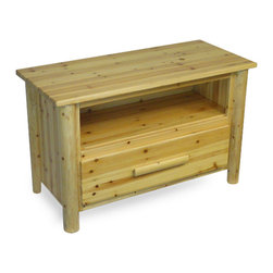 """Convenience Concepts - Santa Fe TV Stand - The Santa Fe collection made from solid pine wood gives any room the feel of a vacation lodge. Nartural pine wood construction is strong and sturdy with a stin finish that protects from spills and is easy to keep clean.; Solid pine wood log legs and natural pine walls and table top, Holds up to a 50"""" TV, Satin finish protects from spills easy to clean, Gives any room the feel of a vacation lodge, Santa Fe End Table, Coffee Table and Console Table available separately; The Santa Fe Collection TV Stand is made of solid pine legs with a durable table top, Give any room the feel of a vacation lodge; Will provide years of enjoyment; No Lead content.; Country of Origin: China; Weight: 55 lbs; Dimensions: 26""""H x 41.75""""W x 19""""D"""