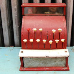 Tom Thumb Child's Cash Register by Vintage Lancaster - Decorate with old toys. I wouldn't let my children play with something that might possibly have lead paint on it, but something like this sure would make a cute decoration on higher bookshelves.