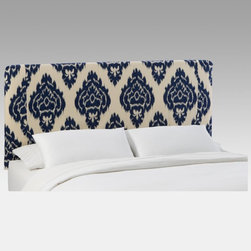 Skyline Furniture - Diamond Blue Slipcover Headboard - 730SLDMNDBLUE - Shop for Headboards and Footboards from Hayneedle.com! Some of today's coolest dining tables boast quaint mix-and-match modern flatware and unmatched glasses and cups - and certainly a favorite of those is that great blue-patterned antique china. Bring the same quirky vintage-modern vibe of those dish patterns into the bedroom with the Skyline Diamond Blue Slipcover Headboard which melds clean contemporary lines with a traditional print. The durable wood and metal framed headboard boasts soft 100 percent cotton upholstery with a blurred blue diamond design against a neutral background. Mix and match the headboard's style with bright bedding and delicate eyelet pillows. Spot-clean care is super-easy and sizes to fit beds from twin to California king are available. Dimensions Twin: 41L x 4W x 52H inches Full/double: 56L x 4W x 52H inches Queen: 62L x 4W x 52H inches King: 78L x 4W x 52H inches California king: 74L x 4W x 52H inches About Skyline Furniture Manufacturing Inc.Skyline Furniture was founded in 1948 with the goal of producing stylish affordable quality furniture for the home. After more than 50 years this family-run business is still designing and manufacturing unique products that meet the ever-changing demands of the modern home furnishing industry. Located in the south suburbs of Chicago the company produces a wide variety of innovative products for the home including chairs headboards benches and coffee tables.