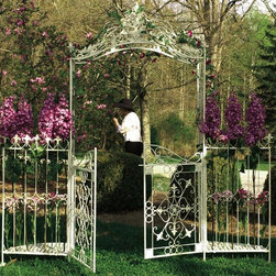 Arbor/Gate - This piece combines an arbor and gates. The iron work is very delicate. Add a sweet, traditional touch to your back yard with this combo.