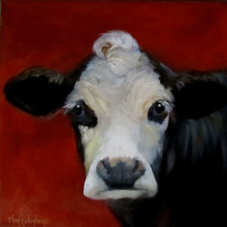 Oil Paintings by Cheri - Canvas Cow Print, Bach, Black and White-Faced Cow - 24x24 Stretched Canvas Giclee Print