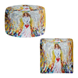 DiaNoche Designs - Ottoman Foot Stool by Karen Tarlton - Angel of My Heart - Lightweight, artistic, bean bag style Ottomans. You now have a unique place to rest your legs or tush after a long day, on this firm, artistic furtniture!  Artist print on all sides. Dye Sublimation printing adheres the ink to the material for long life and durability.  Machine Washable on cold.  Product may vary slightly from image.