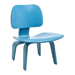 "IFN Modern - Eames Inspired LCW Plywood Chair-Blue Veneer - Overall Dimensions: 27.2"" H x 21.6\"" W x 22.4\"" D Heat and Pressure Molded plywood seat and back"