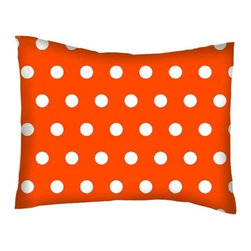 SheetWorld - SheetWorld Twin Pillow Case - Percale Pillow Case -Polka Dots Orange-Made in USA - Twin pillow case. Made of an all cotton woven fabric. Side Opening. Features a beautiful 1/2 inch white dot print on a orange background.