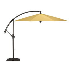 10' Free Arm Round Sunbrella® Daffodil Umbrella with Freestanding Base - Grab a spot of shade with this yellow umbrella and stand. It will protect you from the sun's strong rays while providing an interesting sculptural form on your patio or deck.