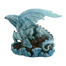 Summit - Blue Water Dragon on Rock Fantasy Figure Decoration Decor Collectible - This gorgeous Blue Water Dragon on Rock Fantasy Figure Decoration Decor Collectible has the finest details and highest quality you will find anywhere! Blue Water Dragon on Rock Fantasy Figure Decoration Decor Collectible is truly remarkable.
