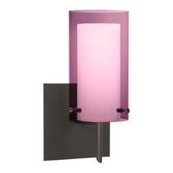 Besa Lighting - Pahu Bronze One-Light Halogen Square Canopy Wall Sconce with Transparent Amethys - - The Trans-Amethyst colored blown glass complements the soft white Opal cased glass, which can suit any classic or modern decor. Opal has a very tranquil glow that is pleasing in appearance, as the Trans-Amethyst glass sparkles with the accents from that glow. The smooth satin finish on the opal?s outer layer is a result of an extensive etching process. This blown glass combination is handcrafted by a skilled artisan, utilizing century-old techniques passed down from generation to generation.  - Bulbs Included  - Shade Ht (In): 7  - Shade Wd/Dia (In): 4  - Canopy/Fitter Ht (In): 5  - Canopy/Fitter Dia/Wd (In): 5  - Title XXIV compliant  - Primary Metal Composition: Steel  - Shade Material: Glass  - NOTICE: Due to the artistic nature of art glass, each piece is uniquely beautiful and may all differ slightly if ordering in multiples. Some glass decors may have a different appearance when illuminated. Many of our glasses are handmade and will have variances in their decors. Color, patterning, air bubbles and vibrancy of the d�cor may also appear differently when the fixture is lit and unlit. Besa Lighting - 1SW-A44007-BR-SQ