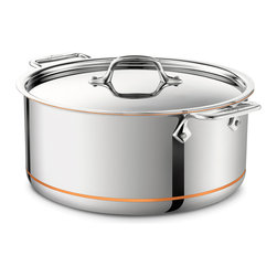All-Clad Copper Core 8 Qt. Stockpot - An essential for every kitchen the All-Clad Copper Core 8 qt. stockpot features high sides that slow the evaporation of liquids providing the ideal design for creating a variety of stocks. The wide bottom of the pan allows for sauteing of ingredients before the addition of liquids for delicious soups and stews. Stockpots are also well-suited for canning blanching and preparing food in large quantities. All-Clad Copper Core Construction Cookware from the All-Clad Copper Core Collection features bonded five-ply construction with layers of aluminum surrounding a copper core. The 18/10 stick-resistant stainless steel interior provides an easy-to-clean cooking surface and the stainless steel exterior makes this cookware compatible with all cooking surfaces including induction cooktops. COPPER Core's layered construction eliminates warping and enables rapid even heating.