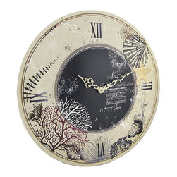 n/a - Round Beige and Black Beach Themed Wall Clock 18 In. - Add a lovely accent to nautical or beach themed decor in homes or offices with this large wall clock. Made of wood, it measures 18 inches in diameter and features a lightly distressed ivory colored background with a black center and dark Roman numerals and white hands to mark the time. It contains a quartz movement and runs on 1 AA battery (not included). This clock mounts to the wall with a single nail or screw by the metal triangle hanger on the back, and it is sure to be admired by all that view it.