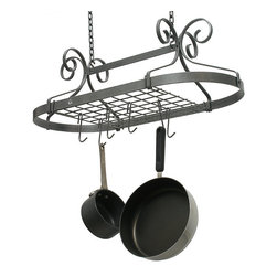 """Frontgate - Scrolled Oval Pot Rack - Mounts on 14"""" centers; includes four grid brackets. Includes 12 hooks. Some assembly required; racks come assembled. Fresh, stylish, and decorative, our Scrolled Oval Pot Rack makes kitchen art of your cookware. Showcase your pots and pans hung beneath a hammered-steel rack.  .  .  . Made in USA."""