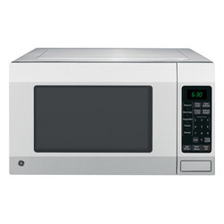 GE - GE Sensor Controlled Countertop Microwave Oven - This countertop microwave features built-in sensors that monitor the moisture level in food and automatically adjusts time to deliver perfect cooking results. Auto defrost sets the defrosting time and power levels to deliver even defrosting.