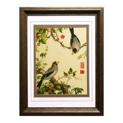 China Furniture and Arts - Flowers and Birds Silk Embroidery Frame - Silk embroidery is a Chinese art form with origins dating back thousands of years. With each piece containing thousands of tiny threads, a composition requires an extremely high level of skill to create. The classic Chinese imagery features two birds resting on a berry tree. The reflective nature of the silk thread allows the vibrant color tones to stand out beautifully in light.  Museum quality hardwood framing makes this piece ready to hang and make a statement on any wall it is placed.