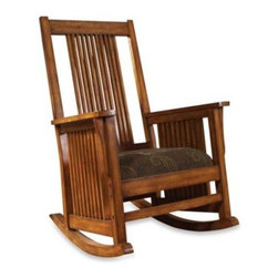 E & E Co., Ltd. - Belmont Rocking Chair in Paisley - The Belmont's classic spindle rocking design showcases a harmonious blend of Arts & Crafts with a plush, upholstered seat featuring lovely paisley graphics. An heirloom in the making, this rocking chair would make an elegant addition to any room.