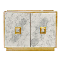 "Worlds Away - Worlds Away Winslow Gold Leaf Cabinet - The Worlds Away Winslow cabinet awashes the modern dining room in scintillating style. Accented by glistening gold, two antique mirror doors exude elegantly timeless texture. 48""W x 18""D x 36""H; Gold leaf finish; Single interior fixed shelf"