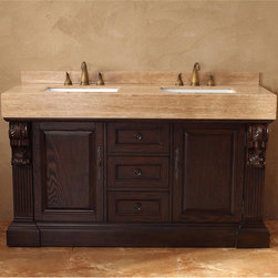 None - James Martin Furniture Toscano 60-inch Double Vanity Set - The travertine top and matching back splash create a complete look accenting the white sinks,while the unique pilaster carvings add a touch of class to complete the vanity. Add a sense of elegant style to your bathroom's decor with this vanity.