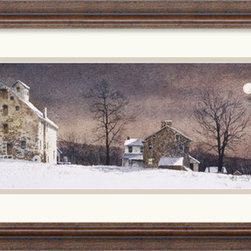 Amanti Art - Mill Moon Framed Print by Ray Hendershot - Maybe it reminds you of home or maybe it just reminds you of a simpler life. Artist Ray Hendershot takes you to a quiet place in this snowy country scene that is perfect for your home or office.