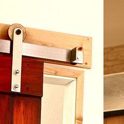 Modern Barn Door Hardware With Wooden Wheel - http://rusticahardware.com/ - Amazing Barn Door Hardware, Rustic Roller with Wooden Wheel