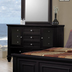Coaster - Sandy Beach Dresser - The Sandy Beach collection is crafted with tropical hardwoods and veneers in a rich black finish. Organizing is made easy with case pieces that feature multiple drawers for plenty of storage. The clean and straight lines enhance the modern look of this group.
