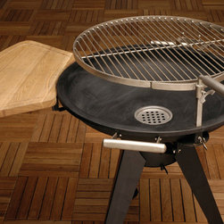 Fire Sense - HotSpot Terrace 600 Charcoal BBQ Grill - We are pleased to offer the finest in British design and quality in the HotSpot Terrace 600 Charcoal Grill. Combining attractive form with expertly designed multiple function, the Terrace 600 is the perfect charcoal grill. The Terrace 600 Grill is the perfect size for any patio. This contemporary unit combines a modern BBQ grill with a traditional fire pit. Constructed of pressed steel and stainless steel, this sturdy grill is fully adjustable for different cooking temperatures. The unique grill swings away for easy fire building and cleaning. Comes complete with chopping board.