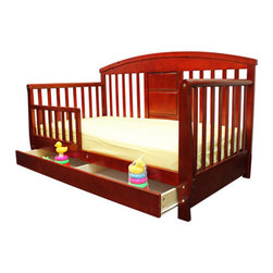 Dream On Me - Deluxe Toddler Day Bed with Storage Drawer - This durable, solid wood, Deluxe Toddler day bed looks like a day bed but is designed low to the floor for your toddlers' convenience. The perfect transition for toddlers who have outgrown their cribs but are still too small for an adult bed. This attractive toddler day bed accommodates a Dream On Me crib mattress, sold separately. Recommended for children 18 months to 5 years old, up to 50 lbs. All tools needed for easy assembly are included. Features: -Material: Solid wood. -Beautiful mission style design. -Removable security guard rail to prevent accidental falls while sleeping. -Roomy storage drawer underneath the bed. -Wooden mattress support. -Non-toxic. -Recommended for children 18 months to 5 years old.