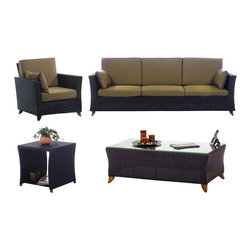 All Things Cedar - Rattan wicker 8 Ft. Sofa Patio Set with Golden Khaki cushion - Our deep seating furniture offers plenty of room for entertaining or just a weekend of relaxing :  SET INCLUDES: SOFA ( 92 x 33 x 34 ) : ARM CHAIR ( 33 x 33 x 34 ) : COFFEE TABLE (47 x 24 x 16)  : SIDE TABLE ( 20 x 20 x 20 ) Item is made to order.