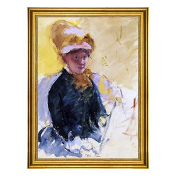 """Mary Cassatt-16""""x24"""" Framed Canvas - 16"""" x 24"""" Mary Cassatt Self Portrait framed premium canvas print reproduced to meet museum quality standards. Our museum quality canvas prints are produced using high-precision print technology for a more accurate reproduction printed on high quality canvas with fade-resistant, archival inks. Our progressive business model allows us to offer works of art to you at the best wholesale pricing, significantly less than art gallery prices, affordable to all. This artwork is hand stretched onto wooden stretcher bars, then mounted into our 3"""" wide gold finish frame with black panel by one of our expert framers. Our framed canvas print comes with hardware, ready to hang on your wall.  We present a comprehensive collection of exceptional canvas art reproductions by Mary Cassatt."""