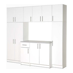 Prepac - Elite 8-Pc Cabinet Storage Set in White - Have your own workspace with lots of storage too when you purchase this eight cabinet Elite unit. It's white with contemporary hardware and adjustable shelves. 89 inches high, 96 inches wide and 24 inches deep. Imagine how efficiently you can organize your garage with this attractive cabinet storage system that comes in a fresh white finish. Storage will no longer be an issue with this large storage system with pantry, overhead storage, and cabinets. * Includes two 32 in. stackable wall cabinets, 16 in. stackable wall cabinets, one 32 in. storage cabinet, 16 in. base cabinet, 32 in. base cabinet and 16 in. broom cabinet. Storage cabinet with 1 in. thick durable melamine work surface. Two adjustable shelves and one fixed shelf. 16 in. base cabinet with heavy duty drawer with metal sides. One adjustable shelf. 32 in. base cabinet with one adjustable shelf. 16 in. broom cabinet with two adjustable shelves. 32 in. stackable wall cabinet with one adjustable shelf. 16 in. stackable wall cabinet with one adjustable shelf. Stylish brushed metal handles. Door with high quality European-style 6-way adjustable hinges that mount to open left or right. MDF door and drawer front with profiled rounded edges. Durable laminate finish. CARB-compliant. Warranty: Five years limited. Made from laminated composite woods with a sturdy MDF backer. Made in North America. Assembly required. 32 in. storage cabinet: 32 in. W x 16 in. D x 65 in. H. 16 in. base cabinet: 16 in. W x 24 in. D x 36 in. H. 32 in. base cabinet: 32 in. W x 24 in. D x 36 in. H. 16 in. broom cabinet: 16 in. W x 16 in. D x 65 in. H. 32 in. stackable wall cabinet: 32 in. W x 16 in. D x 24 in. H. 16 in. stackable wall cabinet: 16 in. W x 16 in. D x 24 in. H
