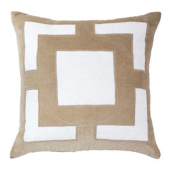 "Bandhini - Panel Beige Lounge Throw Pillow - This plush lounge pillow's contemporary design exudes eye-catching sophistication on a sofa or bed. On a white cotton background, a beige geometric velvet panel lends makes a simple yet stunning statement. Made from 80% cotton, 20% velvet. Dry clean. Grey goose down fill insert included. 21""W x 21""H."