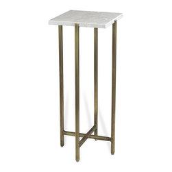 Interlude - Zahara Square Drink Table - The Zahara Square Drink Table combines bright marble with a warm brass finish base.
