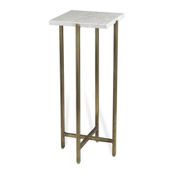 Interlude - Zahara Square Drink Table - The Zahara Square Drink Table combines bright marble with a warm brass finish base.