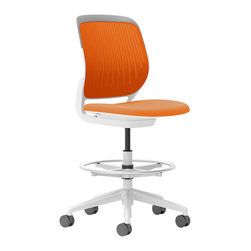 Steelcase - Steelcase Cobi Stool, White Frame & Standard Casters, Tangerine - Static Motion. When you need to sit and move at the same time, this rolling stool is perfect. It lets you swivel 360 degrees, adjust the height as you like, and of course, roll with whatever changes come up throughout your day.