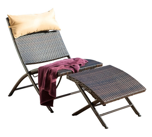 Great Deal Furniture - Selma Outdoor Lounge Chair and Ottoman - Relax in the Selma lounge chair, complete with a throw pillow for added comfort and a matching ottoman. This unique piece has modern touches and is collapsible for portability and easy storage.