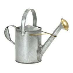 Galvanized Short Necked Watering Can - The Galvanized Short Necked Watering Can is an 18th century replica, offering traditional style for you garden. Thirsty plants will love this 1.5-gallon watering can. Durably constructed of galvanized steel.About ACHLA DesignsThis item is created by ACHLA Designs. ACHLA is a garden accessories company that emphasizes unique wood and hand-forged, wrought iron European furnishings for the home and garden. ACHLA Designs continues to add beautiful and unique items year after year, resulting in an unusually large product line. All ACHLA products are stocked in the company's warehouse for year-round, prompt shipping. ACHLA Designs takes great pride in offering exceptional products and customer service.