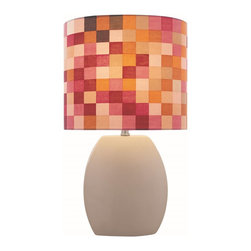 Lite Source - Lite Source Reiko Kids Table Lamp XSL-ETTAL60512 - From the Reiko Collection, this Lite Source kids table lamp features a Latte colored ceramic body whose simple, clean design compliments the warm shades of pink, orange, red and tan on the checkerboard-patterned fabric diffuser. Perfect for children's rooms, modern living rooms, playrooms, guest rooms and more.