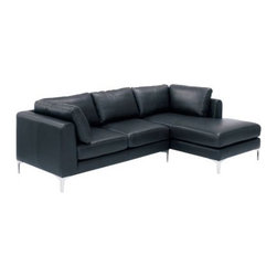 """Albert Sectional Chaise Right Leather - Design Within Reach - A reason we often hear for not choosing a sectional is that it won't fit, to which we say: """"Have you seen the Albert Collection?"""" With a compact scale for space-conscious homes, each Albert component stands on a surprisingly small footprint and can be configured to fit your space. Use the Albert Sectional Chaise (2008) as it is, or expand it with additional components, like the Albert Single Seater (a locking mechanism firmly holds the pieces together). The Albert Collection's comfortable back cushions and armrests pamper, while firm foam seat cushions provide just the right amount of support. To maintain a clean look, the back cushions are attached to the frame with zippers, and the leather upholstery is applied to the structure using a fixed slipcover technique. This technique gives the Albert Collection its straight seams and crisp appearance from all angles. The reinforced frames are built for durability, and come with a lifetime warranty. Still wondering if it will fit? Visit a DWR Studio for help from one of our design experts. To order swatches, call 1.800.944.2233 or visit your local DWR Studio. Made in U.S.A. Due to the size and weight of this item, we recommend our White Glove delivery service. Please review our shipping options. During checkout you will select the option that best fits your needs. DWR Exclusive."""