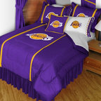 Sports Coverage - NBA Los Angeles Lakers Sidelines Bedding - Complete Set - Full w/ 1 Sham - Save big and show your NBA team spirit with Sidelines Los Angeles Lakers Bedding Set, including the Comforter, Sheet set, Pillow sham and Bed skirt! This Comforter is made from 100% Polyester Jersey Mesh - just like what the players wear. The fill is 100% Polyester batting for warmth and comfort. Authentic team colors and logo screen printed in the center.   Microfiber Sheet Hem sheet sets have an ultrafine peach weave that is softer and more comfortable than cotton.  Its brushed silk-like embrace provides good insulation and warmth, yet is breathable.  The 100% polyester microfiber is wrinkle-resistant, washes beautifully, and dries quickly with never any shrinkage. The pillowcase has a white on white print beneath the officially licensed team name and logo printed in vibrant team colors, complimenting the NEW printed hems. The Teams are scoring high points with team-color logos printed on both sides of the entire width of the extra deep 4 1/2 hem of the flat sheet.    2 flanged edge that decorates all four sides of each Pillow sham. Made of 100% polyester jersey mesh, just like the players wear.  Bedskirt available in team color with no team logo printed on them.  Includes:  -  Comforter - Twin 66 x 86, Full/Queen 86 x 86,    -  Flat Sheet - Twin 66 x 96, Full 81 x 96, Queen 90 x 102.,    - Fitted Sheet - Twin 39 x 75, Full 54 x 75, Queen 60 X 80,    -  Pillow case Standard - 21 x 30,    - Pillow Sham - 25 x 31,    -  Bedskirt - Twin 76 x 39, Full 76 x 54, Queen 80 x 60 ,