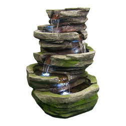 "Sunnydaze Decor - Lighted Cobblestone Fountain w/LED Lights by Sunnydaze Decor - * Dimensions: 24"" W x 31"" H x 16"" D; 32 lbs"