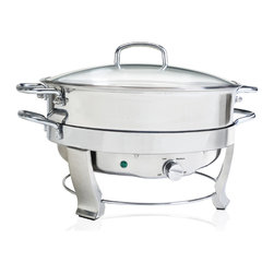 None - 5-quart Stainless Steel 12-inch Round Chafing Dish - Dress your food properly with this elegant stainless steel chafing dish. This dish keeps your food fresh and warm for several hours without drying it out. With a vented glass lid, your guests can get a peek of what you will be serving.