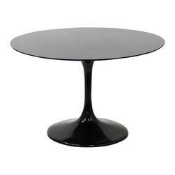 """East End Imports - 48"""" Eero Saarinen Style Tulip Table in Fiberglass Black - Achieve the perfect completion of time and grace with the classic Euro Saarinen Style Tulip Table. Reflect seamlessly as organic shapes and a slender stem-like pedestal glide you to the perfect vantage point. Elevate your surroundings beyond the sharp four-cornered traditional table as you blend divergent perspectives into one centrifugal force par excellence."""