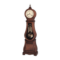 Howard Miller - Howard Miller - Arendal Floor Clock - Time whispers from to second in this voluminous, cherry wood floor clock featuring Scandinavian design, an enchanting piece that stands like an Italian princess jeweled in convex glass crystal, embellished carved accents, Roman numerals and black serpentine hands. * Influenced by Scandinavian design, this floor clock is a unique addition to our Furniture Trend Designs Collection. . The curvaceous clock is finished in Tuscany Cherry on select hardwoods and veneers. . Special details include a convex glass crystal on the hinged top door, decorative carved accents, and a turned urn finial to provide the crowning touch. The finial and finial base are removable. . Aged to match the era, the antiqued dial offers Roman numerals, black serpentine hands, and a separate track for counting seconds. . The weight shells are finished in brushed, antique brass, which is echoed by the circular brushed antique brass bob on the wood pendulum. . Beveled glass on the mid-door defines the clock's curved shape, and a decorative cutout and carvings enhance the sculpted base. . Cable-driven, Westminster chime Kieninger movement with automatic nighttime chime shut-off option. . Finished in Tuscany Cherry on select hardwoods and veneers. . Adjustable levelers under each corner provide stability on uneven and carpeted floors. . Automatic nighttime chime shut-off option. . Locking door for added security. . You will receive a free heirloom plate, engraved with name and date, by returning the enclosed request card to Howard Miller.. Manufacturer's 2 Year Warranty. 89 3/4 in. (228 cm) H x 25 in. (64 cm) W x 13 3/4 (35 cm) D