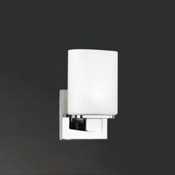 Eurofase - Eurofase 19417-011 Dolante 1 Light Wall Sconce in Chrome 19417-011 - The perfect vanity design - Eurofase's Dolante series is both timeless and modern. Ostentatiously crisp white shades rise from a sparkling chrome bar in an effortless statement of both class and gentility.G9 BulbBulb Base: G9 Bulb Included: Yes Bulb Type: Halogen Collection: Dolante Extension: 3-1 2 Finish: Chrome Height: 8 Length: 4-1 2 Light Direction: Up Lighting Max Wattage: 60 Number of Lights: 1 Safety Rating: cULus Shade Finish: OpalWhite Socket 1 Base: G9 Socket 1 Max Wattage: 60 Style: Contemporary Modern Suggested Room Fit: Bathroom, Bedroom Voltage: 120