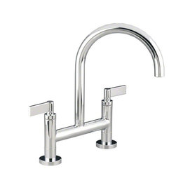 Kallista One Deck-Mounted Bridge Kitchen Faucet, Lever Handles - Sophisticated and modern, the One™ collection infuses minimalist design with elements of character | Two-handles, Ceramic disk valves exceed industry longevity standards by more than two times, Seamless spout reaches, Solid brass construction for durability and reliability, Features installation ring and flexible inlet connections for ease of installation, Complements the One™ collection | Available at any one of our showrooms!