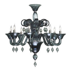 Cyan Design - Cyan Design Trviso 8-Light Chandelier - Take your room from ordinary to spectacular. No doubt, this contemporary chandelier has that wow factor. Crafted from indigo smoke Murano style glass, it features chrome accents, graceful scrollwork and delicate pendant drops. Your dining room will look dazzling.