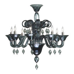 Cyan Design - Cyan Design Trviso 8 Lt Chandelier - Take your room from ordinary to spectacular. No doubt, this contemporary chandelier has that wow factor. Crafted from indigo smoke Murano style glass, it features chrome accents, graceful scrollwork and delicate pendant drops. Your dining room will look dazzling.