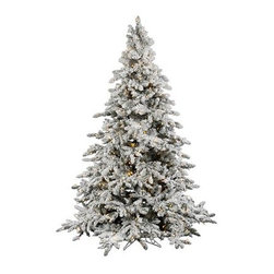 """Vickerman A895176LED Flocked Utica Fir Christmas Tree (with lights) - Get 10% discount on your first order. Coupon code: """"houzz"""". Order today."""